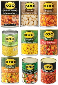 Koo canned vegetables
