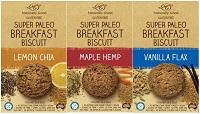 Naturally Good Super Paleo Breakfast Biscuits Lemon Chia, Maple Hemp and Vanilla Flax